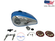 Bsa Gold Star Catalina 2 Gal Sky Blue Tank + Cap Tap Badges And B Pipefit For