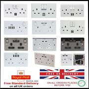 1 And 2 Gang Double Single Switched Wall Mains Plug Socket Usb Charging Ports 13a
