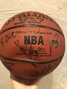 Miami Heat Team Autographed Ball Dwyane Wade Udonis Haslem Rookie