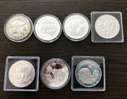 Set Of Somalia .999 Silver 1 Tr/oz Elephant In Various Capsules /years 2012-2018