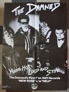 """The Damned 'young Hot Loud And Stiff' 24"""" X 17 Rare Fold-out Posterpunk 1976"""