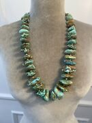 Vintage Turquoise Nugget And Heishi Shell Necklace