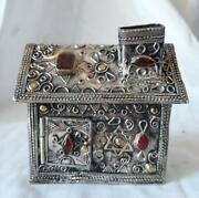 Judaica, Persian Silver, Mixed Metal's And Agate Tzedakah Box, One Of A Kind
