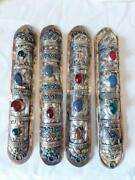 Judaica, Silver And Mixed Metal's Persian Mezuzah With Agate Stones, Set Of 4