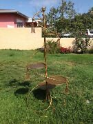 Midcentury Italian Gold Gilt Wrought Iron Spiral 6 Holder Staircase Planters 68