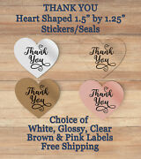 36 Heart Shaped Thank You Self Adhesive Stickerschoice Of Label Stock 10