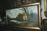 Large 1940and039s Antique Duck Hunting Lodge Art Springer Spaniel Dog Old Painting