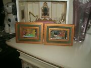 Italian Italy Miniature Mirror Hand Painting Art Picture Wood Frame Water Scene