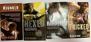 Set Of 4 Signed Kevin Hearne Iron Druid Chronicles And039houndedand039 Paperbacks Hexed