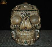 7and039and039old Tibet Crystal Silver Inlay Gem Eight Treasures Skeleton Head Skull Statue