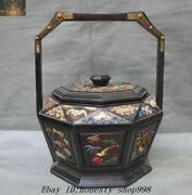 Valuable Royal Nobility Rosewood Inlay Shell Turquoise Food Box Container Vessel
