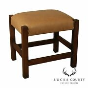 Antique Mission Oak Leather Seat Footstool, Bench, Possibly Stickley