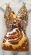 Just Cavalli Top Brown And Orange Print Sleeveless V-neck Stretch Size 42/6