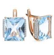 Russian Gold Earrings With Blue Big Square Topaz Made Of Solid Rose Gold 14k