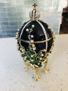St. Petersburg Faberge Lily Of The Valley Jewelry Blue Egg Replica Nwb