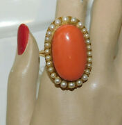 Huge Salmon Coral White Pearls 14k Yellow Gold Size 11 Ring 7d 95