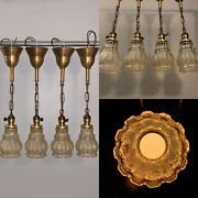 Four 4 Rewired Brass Antique Pendant Fixtures Hubbell Sockets Rare Shades 99d