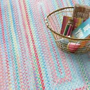 Capel Rugs Babys Breath Soft Chenille Braided Concentric Area Rug Blue Bell 440