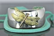 And Co 18k Yellow Rose Gold Silver Dragonfly Bangle Bracelet Size Small