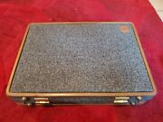 Vintage Hartmann Luggage Tweed With Leather Belting Suitcase, 18.5x13.5x4.5 Size
