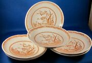 Furnivals 1913 Quail Brown Saucers 6 - 5.5 In. - England