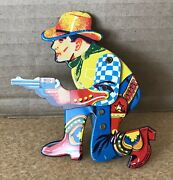 Vintage Metal Cowboy Clicker Toy Rare Moveable Shooting Arm