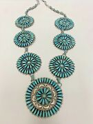 Zuni Petit Point Turquoise And Sterling Silver Circle Necklace