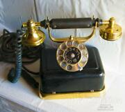 1927 Antique Big Old Desk Rotary Dial Phone Telephone Wood Brass Poland