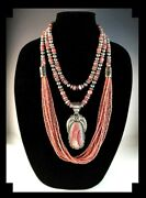 White Fox Creation 3 Piece Sterling And Rhodochrosite With Joe Paul Pendant