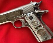 1911 Sterling Silver Real 14kt Gold Grips Mexican Eagle Colt 38 Super.45acp