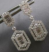 Estate 1.18ct Diamond 18kt White Gold Round And Baguette Hexagon Hanging Earrings