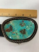 Museum Quality Massive Turquoise Native American Belt Buckle Signed J.j. Hawkes