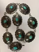 Heavy Navajo Sterling Silver 30 Vtg Turquoise Concho Belt/necklace 278 Grams
