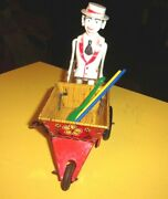 Vintage Louis Marx Wind Up Sam The Gardener W/3 Tools Working Condition 1950's