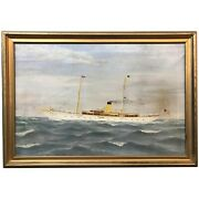 Oil Painting Yacht Or Ship Portrait Of S.y. Diana With Ship Menu And Photo Album