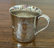Silver Baby Cup For Christening Gift. Hand Chased