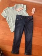 Vineyard Vines Toddler Girls Size -2t Denim Pull On Leggings And Graphic Tee Nwt