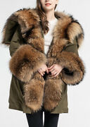 Womenand039s New S M L Military Army Green Winter Coat Jacket Park Hood Raccoon Fur