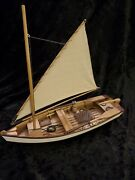 Detailed Vintage Wooden Pond Boat / Sailboat Home Decor Beach Or Mountain House