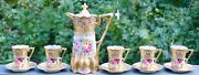 Nippon Pink Roses Gold Morriage Jeweled Chocolate Set - Pot 5 Cups And Saucers