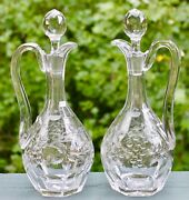 Pair Of Antique French Baccarat Intaglio Grapes Cut Glass Decanter Rock Crysatal