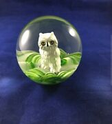 Art Glass With Sulphide Owl Paperweight. Made By Joe St Clair - 20th Century