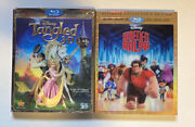 Disney 3d, Bluray, Dvd Lot Tangled And Wreck-it Ralph W/ Slipcover No Digitals