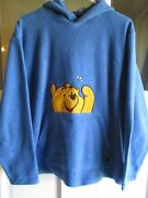 Disney Winnie The Pooh Fleece Hoodie Size S Pullover Large Front Pocket Blue