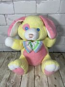 Tb Trading Pastel Yellow Pink Puppy Rattle Terry Cloth Lovey Bow Tie Plush Vtg