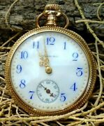 Antique A Stowell And Co 14k Gold Porcelain Stunning Wind Up Pocket Watch 32.5 G