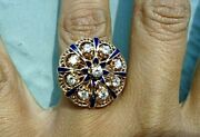 Antique Signed Cdl .85 Ct Old Cut Diamond And Enamel 14k Gold Ring 7.8 Grams
