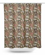 S4sassy Brown Floral And Bird Bathroom Decor Shower Waterproof Curtain-qbp