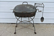 Hammered Copper Barbecue Grill Wrought Iron Cart Antique Craftsman Arts And Crafts