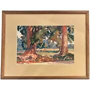 Paul Dougherty Watercolor Landscape Painting Of Redwoods, Twin Trees